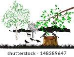 titmouses on the stump | Shutterstock .eps vector #148389647