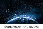 blue vivid image of globe.... | Shutterstock . vector #148407893