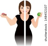 Vector illustration of a girl before and after diet/Before and after a diet/ Vector illustration of the result of a healthy diet