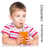 little boy is drinking carrot... | Shutterstock . vector #148459823
