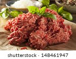 organic raw grass fed ground...   Shutterstock . vector #148461947