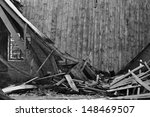 Collapsed Roof Wooden Wall And...