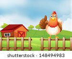 illustration of a chicken above ... | Shutterstock . vector #148494983