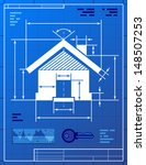 home symbol like blueprint... | Shutterstock .eps vector #148507253