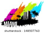 airplane,architecture and buildings,backgrounds,banner,bird,built structure,city,cityscape,design,graffiti,grunge,illustration and painting,illustrations and vector art,miami - florida,multi colored