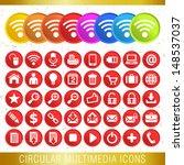 circular multimedia icons   set ...