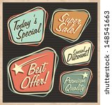 Set of retro design elements. Artistic concept of promotional labels, badges, stickers, ads and bubble speeches. Vintage collection of advertisements and coupons. | Shutterstock vector #148541663