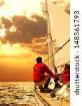 People On Sailing Boat In The...