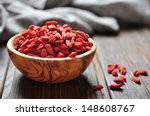 Wooden Bowl With Goji Berries...
