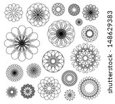 Round Ornament Set. Vector...