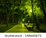 Night Park Wood Benches And...