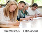 group of students takes the... | Shutterstock . vector #148662203