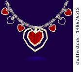 gold necklace red hearts | Shutterstock .eps vector #148676513
