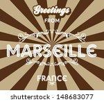 marseilles france greeting sign ... | Shutterstock .eps vector #148683077