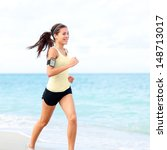 Running Woman Jogging On Beach...