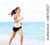 Running Woman Jogging On Beach...