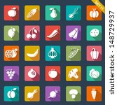 fruit and vegetables icons ...