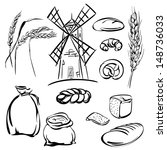 bread  icons sketch collection