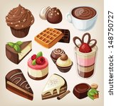 set of chocolate sweets  cakes... | Shutterstock .eps vector #148750727