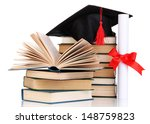 grad hat with diploma and books ...   Shutterstock . vector #148759823