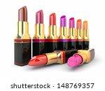 set of red lipsticks on white... | Shutterstock . vector #148769357