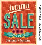 autumn sale. vintage card.... | Shutterstock .eps vector #148793357