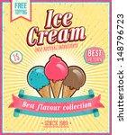 vintage ice cream poster.... | Shutterstock .eps vector #148796723