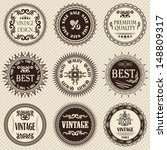 set of vintage labels on a... | Shutterstock . vector #148809317