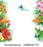 border from tropical flowers... | Shutterstock .eps vector #148836773