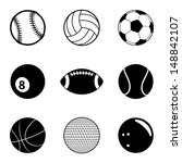 sports balls icon set. raster... | Shutterstock . vector #148842107