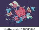 vector vintage color dj perform ...   Shutterstock .eps vector #148888463