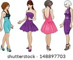 four beautiful caucasian race... | Shutterstock .eps vector #148897703