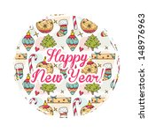 christmas round card with... | Shutterstock .eps vector #148976963