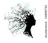 floral head silhouette | Shutterstock .eps vector #14898733