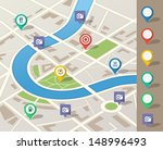 route planning using map... | Shutterstock .eps vector #148996493
