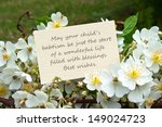 white roses and card  to... | Shutterstock . vector #149024723