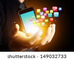 smart phone with cloud of... | Shutterstock . vector #149032733