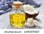 coconut oil with fresh coconut... | Shutterstock . vector #149059487