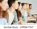 many happy students learning... | Shutterstock . vector #149067767