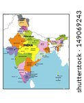 administrative map of india   Shutterstock . vector #149069243