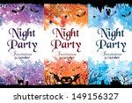 night party invitation. set of... | Shutterstock .eps vector #149156327