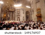Small photo of VATICAN CITY, VATICAN - DECEMBER 31 : Pope John Paul II celebrates the Vespers and Te Deum prayers in Saint Peter's Basilica at the Vatican on December 31, 2003.