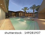 lit swimming pool and exterior...   Shutterstock . vector #149281937