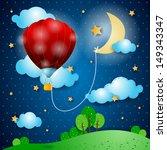 Hot air balloon on fantasy landscape, vector - stock vector