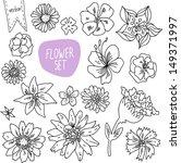 vector doodle flower set | Shutterstock .eps vector #149371997