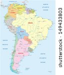 political map of south america - stock vector