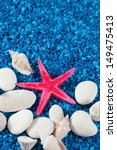 starfish and seashell on blue... | Shutterstock . vector #149475413