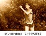 retro sepia beautiful healthy... | Shutterstock . vector #149493563
