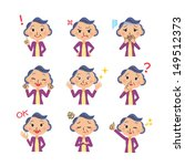 Various poses of grandmother