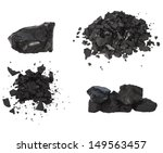 Set Pile Black Coal Isolated O...
